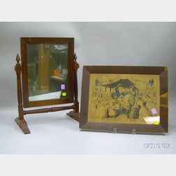 Framed Lithograph Washingtons Reception on the Bridge at Trenton , and a Red-painted Wooden Dressing ...