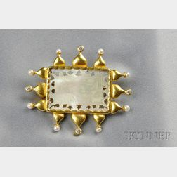 18kt Gold and Mother-of-pearl Scenic Pendant/Brooch, Elizabeth Locke