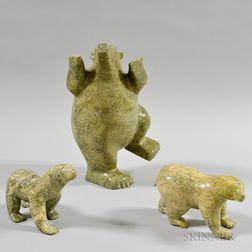 Three Inuit Contemporary Soapstone Bear Carvings