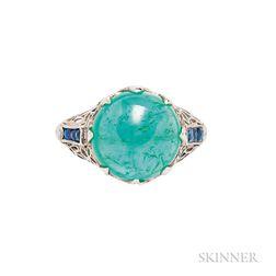 Platinum and Emerald Ring