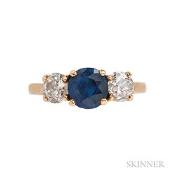 14kt Gold, Sapphire, and Diamond Three-stone Ring