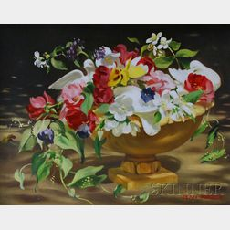 American School, 20th Century      Lot of Two Works:   Still Life with Flowers