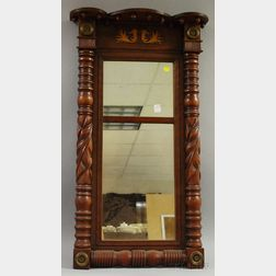 Classical Carved Cherry and Mahogany Veneer Tabernacle Mirror
