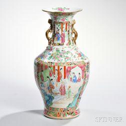 Tall Rose Mandarin Export Porcelain Vase