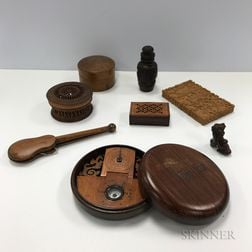 Eight Asian Carved and Turned Wooden Items