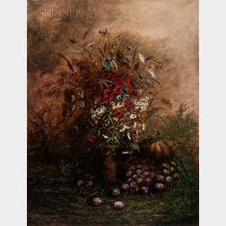 French School, 20th Century      Flowers and Fruit En Plein Air