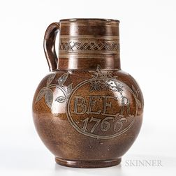 """Large Nottingham Salt-glazed """"Beer"""" Jug"""