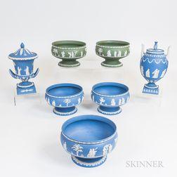 Seven Modern Wedgwood Jasper Vessels