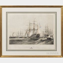 After Oswald Walters Brierly (British, 1817-1894)      H.M.S. Jean D'Acre, 101 Guns, Joining the Fleet at Cork