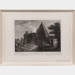 Jean Jérôme Baugean (French, 1764-1819)      Veduta del Sepolcro di Cajo Cestio su la via Ostiense...