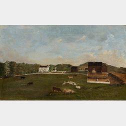 American School Oil on Canvas of a Farm