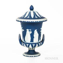 Wedgwood Dark Blue Jasper Dip Campagna Vase and Cover