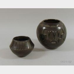 Two Native American Southwest Blackware Jars