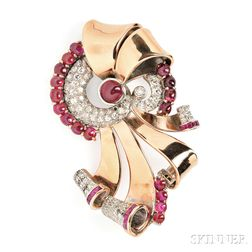 Retro 14kt Rose Gold, Platinum, Ruby, and Diamond Brooch
