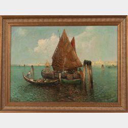 Nicholas Briganti (American, 1861-1944)    Fishing Vessels in Venice