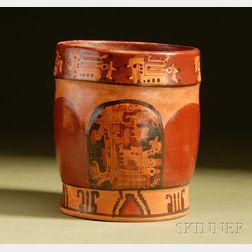 Pre-Columbian Polychrome Pottery Cylinder