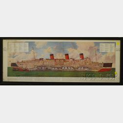 Framed Illustrated London News   Mechanical Print Cunard White Star R.M.S.   Queen Mary  Diagrammatic View