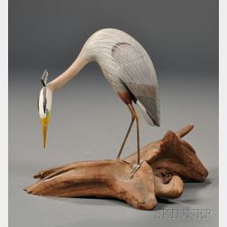 Wendell Gilley Miniature Carved and Painted Great Blue Heron Figure
