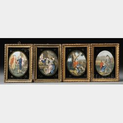 """Four Small Framed Hand-colored """"Prodigal Son"""" Series Prints"""