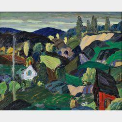 Leighton Cram (American, 1895-1981)       Hilly Landscape