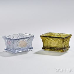 Two Pressed Glass Gothic Arch Pattern Open Salts