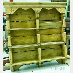 French Provincial-style Pine Wall Shelf and Eighteen Pieces of Quimper Pottery.