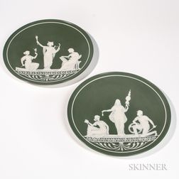 Pair of Mettlach Cameo Chargers