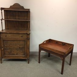 Country Pine Bureau and a Georgian-style Mahogany Butler's Tray on Stand