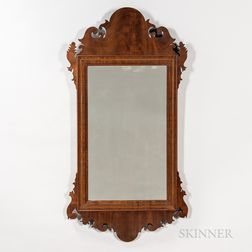 Walnut Veneer Scroll-frame Looking Glass