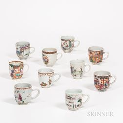Ten Famille Rose Export Teacups