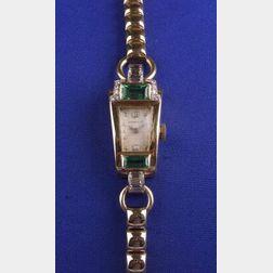 Lady's Retro 14kt Gold, Emerald and Diamond Wristwatch