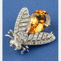 18kt White Gold, Citrine, and Diamond Bee Brooch