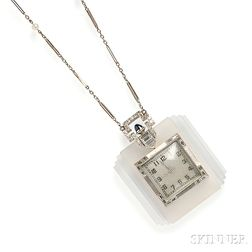 Art Deco Platinum, Rock Crystal, and Diamond Pendant Watch