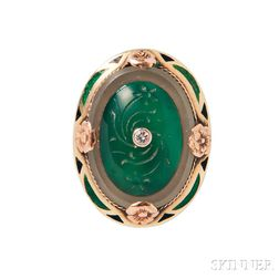 Art Deco 14kt Gold, Chalcedony, and Enamel Ring