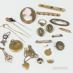 Group of Antique Gold and Gold-filled Jewelry