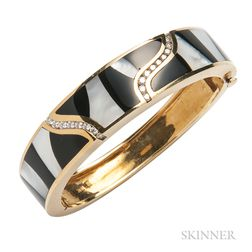 18kt Gold, Onyx, Mother-of-pearl, and Diamond Bracelet