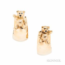 18kt Gold Teddy Bear Earclips