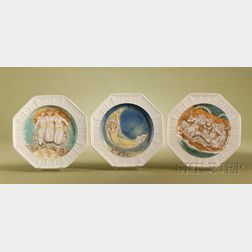 Three Wedgwood Arts & Crafts Movement Earthenware Plates