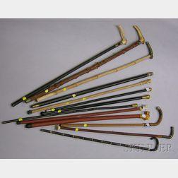 Thirteen Assorted Canes and Walking Sticks