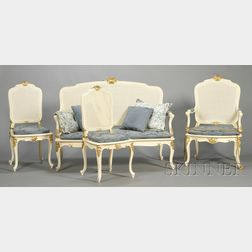 Louis XV-style Painted and Parcel-gilt Seating Suite