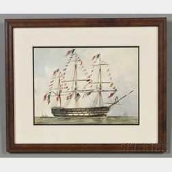 Attributed to Henry Schreiner Stellwagen (American, d. 1866)      French Frigate Dressed Overall.