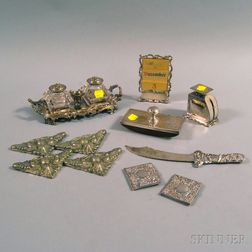 Assembled Sterling Silver and Silver-plated Desk Set