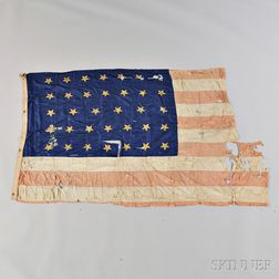 Thirty-four-star Silk Flag from the USS Hartford