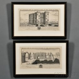 Samuel & Nathaniel Buck (British, 18th Century)      Two Engravings: The East View of Nun-Eaton-Nunnery, in the County of Warwick
