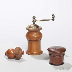 Two Treen Nutmeg Graters and a Spice Grinder
