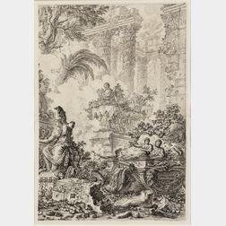 Giovanni Battista Piranesi (Italian, 1720-1778)      Two Framed Prints:   The Right Half of the Frontispiece of the Vedute di Roma