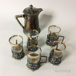 German .800 Silver Teapot and Five Silver-plated and Enameled Tea Glass Sleeves with Glass Inserts