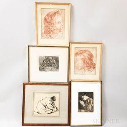 Five Framed Works on Paper