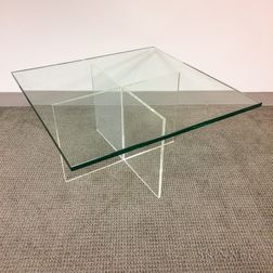 "Glass and Lucite ""X""-base Coffee Table"