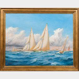 Harold Wyllie (British, 1880-1973)      America's Cup Race off Newport, c. 1930